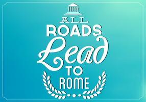 Teal Tutte le strade portano a sfondo vettoriale di Roma