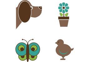 Simpatici animali e fiori
