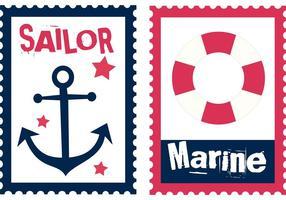 Vettori di francobolli estate marinaio gratis