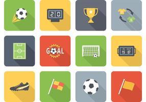 Icone piane di vettore di calcio piatto due