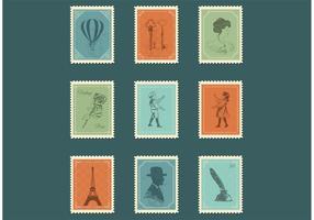 Vettori di francobolli d'epoca gratis