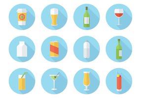 Set di icone vettoriali gratis bevande piatte