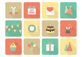Icone piane di compleanno vettoriali gratis