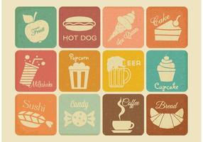 Icone di vettore di cibo e bevande retrò