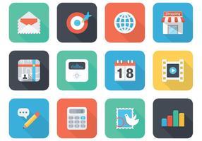 Icone piane di vettore di app per il cellulare ed il web