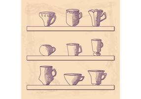 Vettore della tazza disegnata a mano
