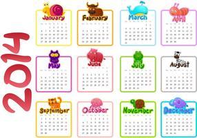 2014 calendario vettoriale