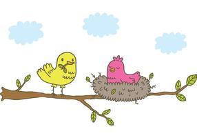 Uccello di vettore gratuito nel nido