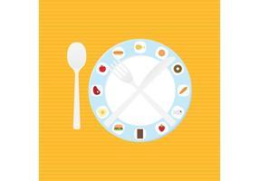 Vettore della regolazione della tavola di cena dell'alimento e del piatto