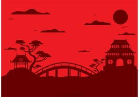 Fondo cinese di vettore del paesaggio del tempio