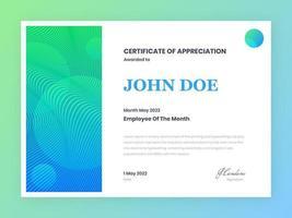 certificato moderno di modello di apprezzamento