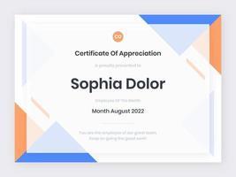 modello di certificato moderno blu e arancione