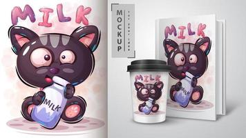 gatto con poster di bottiglia di latte vettore
