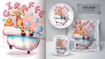 giraffa nel poster di vasca vettore