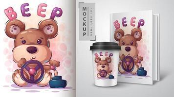 autista di orso con bip poster