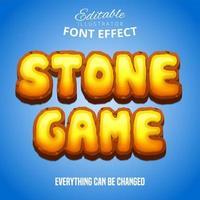 testo di gioco in pietra, effetto carattere modificabile vettore