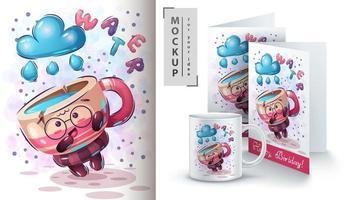 tazza di simpatico cartone animato con poster di acqua vettore