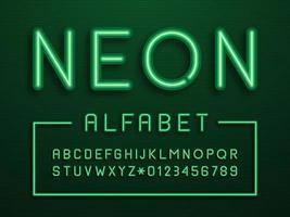 alfabeto di vettore di luce al neon verde