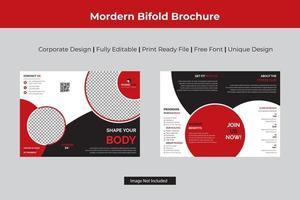 modello di brochure pieghevole bi-fitness con dettagli circolari vettore