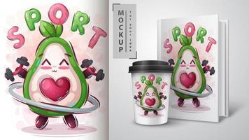 poster e merchandising di avocado fitness vettore