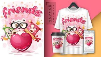 amici animali con poster di cuore vettore