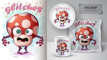 poster di glitches fungo pazzo dei cartoni animati vettore