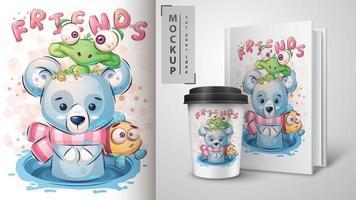 simpatico poster di orso polare e tartaruga vettore