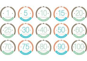 Vettori di distintivo di anniversario colorato