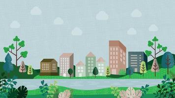 paesaggio fluviale con edifici, colline e alberi vettore