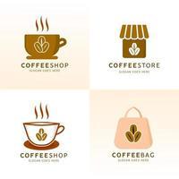 insieme di progettazione di logo della caffetteria