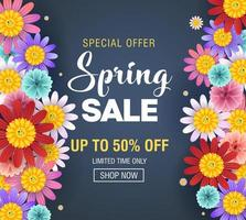 design di vendita di primavera con bellissimi fiori di primavera vettore