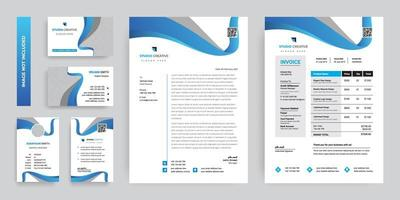 insieme moderno blu di progettazione del modello della cancelleria corporativa