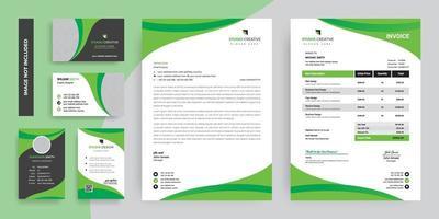 insieme di progettazione del modello della cancelleria corporativa moderna verde intenso