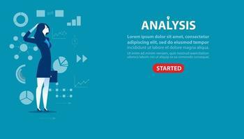 landing page di analisi donna d'affari vettore