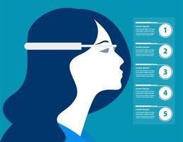 imprenditrice con occhiali futuristici infografica vettore