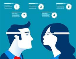 uomo d'affari e donna con occhiali futuristici infografica vettore