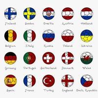 bandiere nazionali d'Europa a forma di pallone da calcio vettore