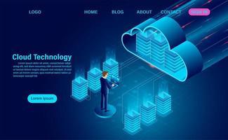 concetto di tecnologia di computazione della nuvola con l'uomo sul computer portatile