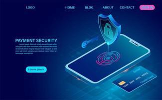 lucchetto sul cellulare. concetto di sicurezza dei pagamenti. vettore