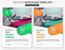 set di modelli di brochure creativa arancione e verde