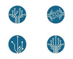 insieme blu di progettazione dell'illustrazione di simbolo del circuito