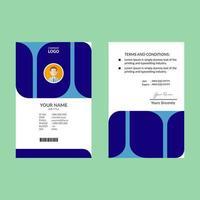 modello di progettazione carta d'identità di forma arrotondata blu