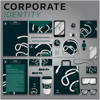 identità aziendale serpente verde e bianco impostato per affari e marketing vettore