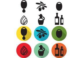 Icone di vettore di goccioline di olio d'oliva