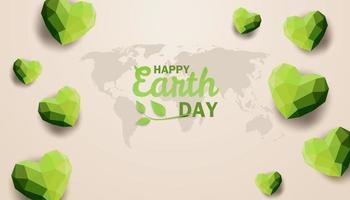 design del giorno della terra con mappa del globo e cuori poligonali vettore