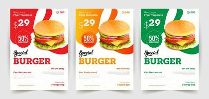 modelli di volantini hamburger sconto in 3 colori vettore