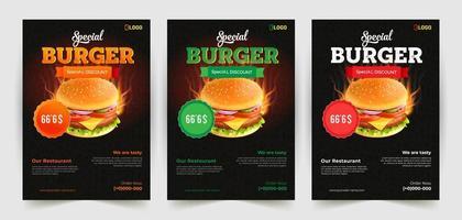 set di volantini per hamburger con sconti speciali vettore