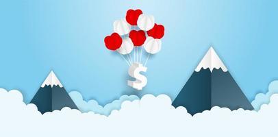 mazzo del pallone del simbolo di dollaro in cielo con le montagne