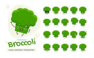 simpatico set di caratteri broccoli verdi