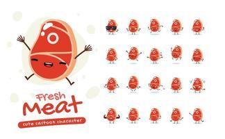 set di caratteri mascotte di carne fresca vettore